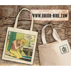 out of this mess, comic book tote bag
